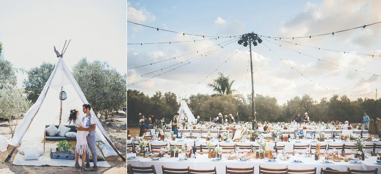 A Bohemian Olive Grove Love Festival Wedding Lit by Fairy Lights