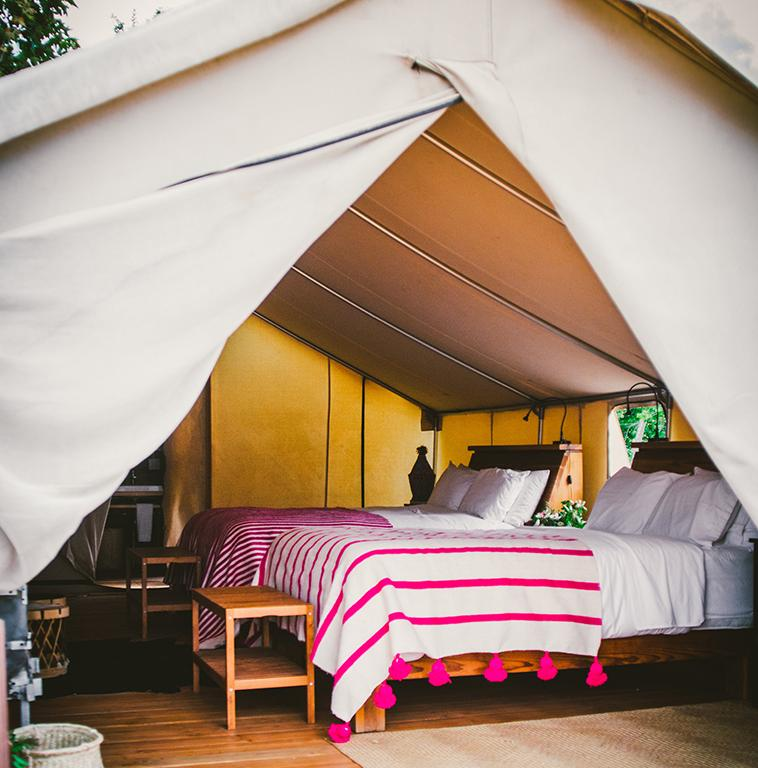 Glamping at cuatro cuatros cabanas with layered vintage