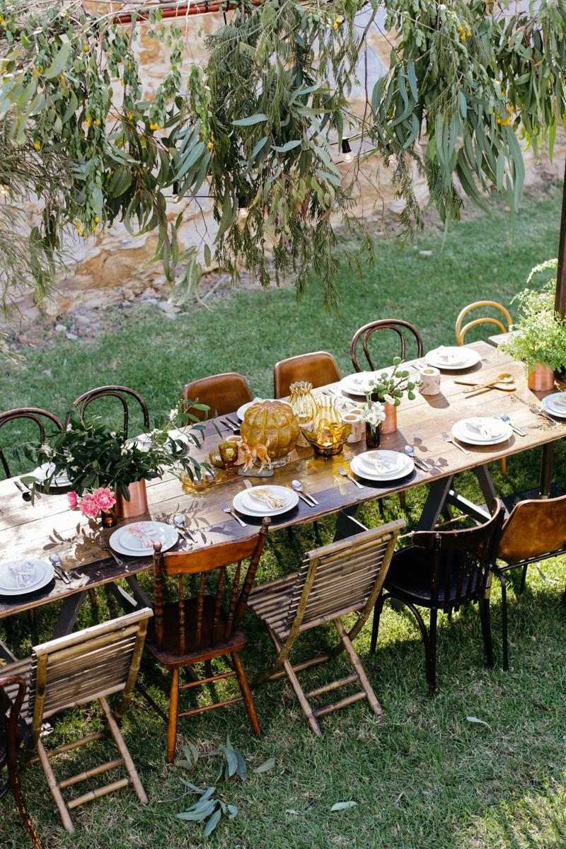 Vintage Chairs, Bohemian Outdoor Wedding, Australia