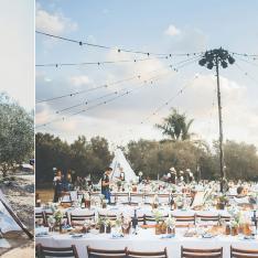 A Bohemian Olive Grove Love Festival Wedding Lit by Fairy Lights
